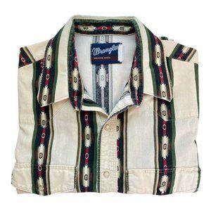 Wrangler Vintage Western Shirt Men's XL Short Sleeve Pearl Snaps Cream/Green/Blu